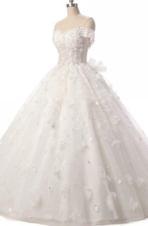 Ball Gown Sweetheart Tulle Lace Dress With Flower Lace-Up Back