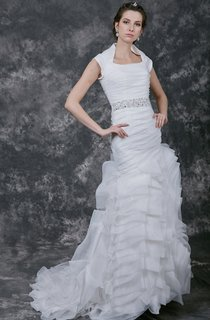 Charming Fit-and-Flare Organza Gown With Asymmetrically Ruching and Sash