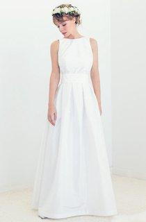 Boatneck Open Back Silk Bridal Gown Audrey Wedding Gown Dress
