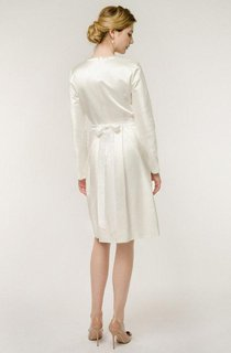 Short Mini Long Sleeve Natural Satin Wedding Dress
