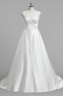 Bateau Neck Cap Sleeve A-Line Satin Wedding Dress With Lce Top