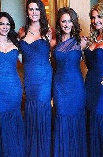 Sexy Mermaid Royal Blue Bridesmaid Dress 2016 Ruched Sleeveless