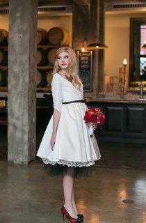 V-Neck 3 4 Sleeve Vintage Style Taffeta Dress With Crisscross Ruching
