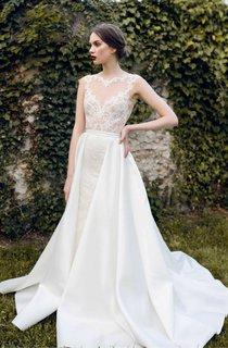 Bateau Cap-Sleeve A-Line Satin Lace Dress With Backless Design