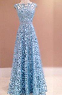 Gorgeous Blue Lace 2016 Evening Dress Sleeveless Floor Length