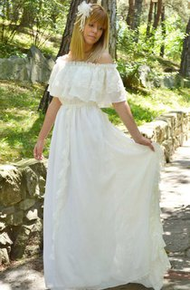 Off-The-Shoulder Short Sleeve Lace Chiffon Wedding Dress With Tiers