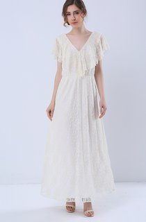 Open Back Short Sleeve Maxi Lace Dress
