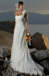 Sheath Column One-shoulder Chiffon Sleeveless Sweep Brush Train Wedding Dresses