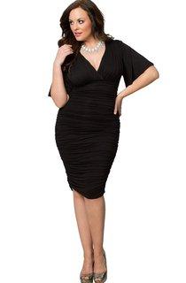 Short-sleeved V-neck Knee-length Ruched Dress