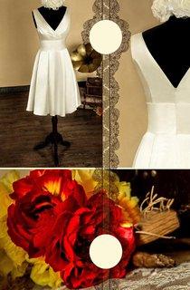 A-Line Knee-Length V-Neck Satin Dress With Low-V Back