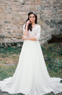 Non Corset A Silhouette Wedding With Nude Lace Bodice Dress