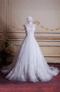 Ball Gown V-Neck Sleeveless Lace Dress With Illusion Back And Court Train
