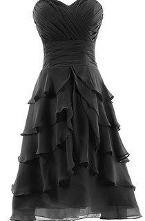 Ruched Bust Layered Chiffon Dress With Zipper Back