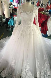 Scoop Neck Long Sleeve A-Line Organza Wedding Dress With Lace Appliques
