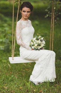 Scalloped Illusion Sleeve Keyhole Back Sheath Long Lace Wedding Dress
