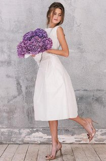 Sheer Tea-Length Sleeveless Satin Dress