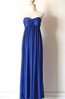 Blue Strapless Long Dress