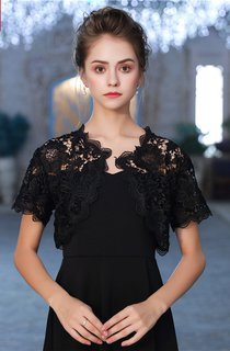 New Autumn Thin Short Sleeve Yarn Dress Black Lace Shawl