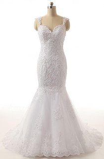Trumpet Backless Lace Weddig Dress With Beading