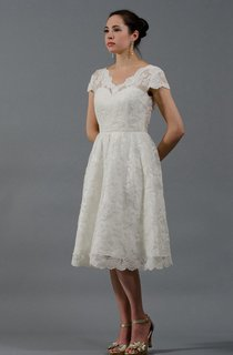 Alencon Lace Knee-Length Wedding Dress With Cap Sleeves