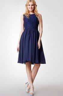 Sleeveless Floral Bodice Knee Length Chiffon Dress With Keyhole