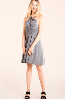 A-Line Short Sleeveless Chiffon Backless Dress