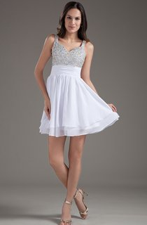 strapped a-line mini dress with jeweled top and pleats