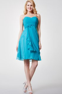 Sweetheart Ruched Draped Short Chiffon Dress With Flower Detailing