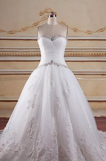 Sweetheart Ball Gown Tulle Criss Cross Dress With Beading Appliques