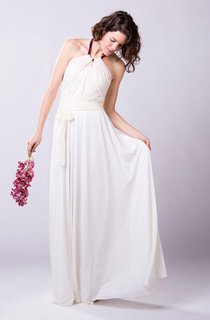 Boho Romantic Chiffon Wedding Dress With Lace Bodice and Halter Neck