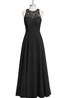 A-Line Chiffon Sleeveless Dress With Lace Bodice and Jewel Neck