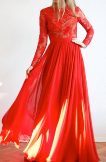 Red Maxi Open Back Lace And Silk Evening Ball Prom Wedding Gown Dress