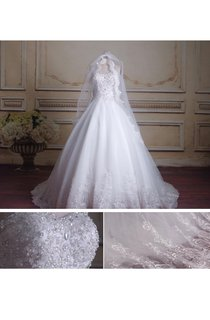 Ball Gown Sweetheart Chapel Train Tulle Lace Organza Satin Dress With Beading