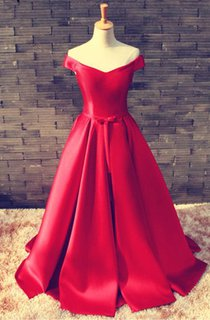 Elegant Red Off-the-shoulder 2016 Prom Dress Bowknot Lace-up
