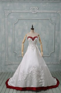 Sweetheart Long Satin Wedding Dress With Appliques And Lace-Up Back