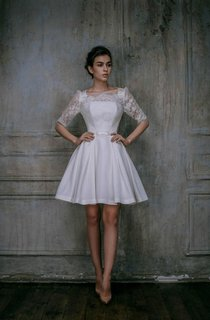 Mini Knee-Length Lace Taffeta Weddig Dress