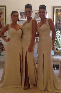 Gorgeous Sleeveless Lace Appliques Bridesmaid Dress 2016 Front Split Zipper Button Back