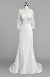 Scoop Neck Long Sleeve Sheath Satin Wedding Dress With Lace Bodice