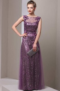 Sleeveless Bateau Neckline Sheath Tulle Dress With Sequins