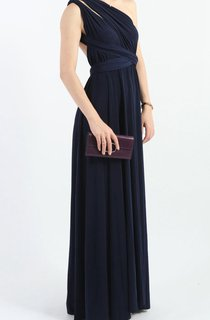 Navy Blue Floor-length Jersey Dress
