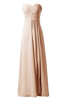 Sweetheart Long Chiffon Dress With Crisscross Ruching