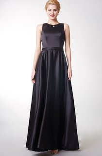 Wonderful Sleeveless Pleated Satin Gown With Zipper Back