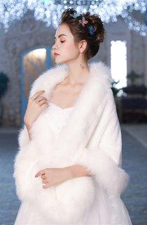 Winter New Large Size Padded Korean Warm Wedding Cloak
