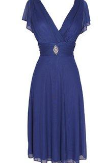Short Sleeve V-neck Knee-length Chiffon Dress With Beading
