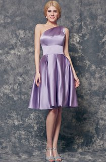 Magical One Shoulder A-line Short Satin Dress With Pleats
