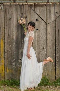 Jewel Neck Cap Sleeve A-Line Chiffon Wedding Dress With Lace Hemline