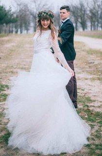 Bateau Illusion Long Sleeve Lace Tulle A-Line Wedding Dress