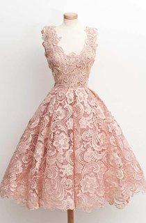 Low V Neckline A-line Knee Length Lace Dress