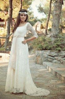 Bohemian Half Sleeve Floor-Length Lace Dress
