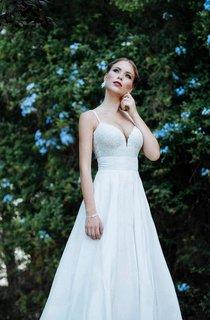 Low Neck Spaghetti Strap Long A-Line Taffeta Wedding Dress With Lace